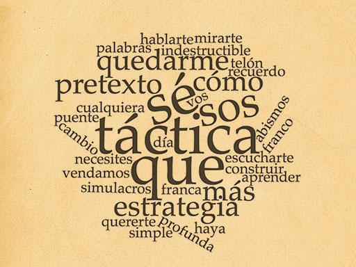 tactica y estrategia nube de versos fondo papel