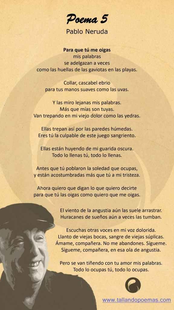 Imagen Poema 5 Pablo Neruda