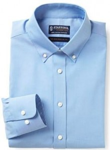 men's blue dress shirt with extra long sleeves