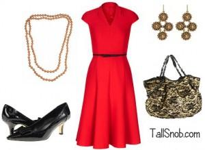 women's tall red dress