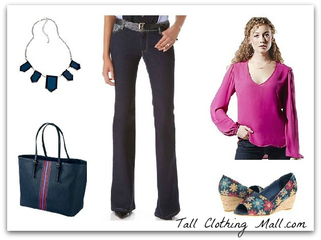 """women's tall outfit with 38"""" inseam jeans"""