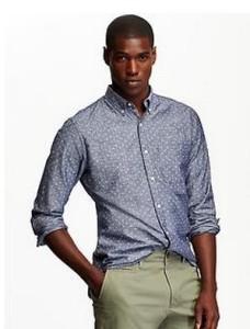 slim fitting tall chambray shirt
