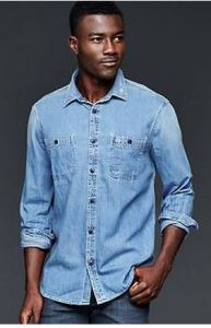 mens tall denim shirt