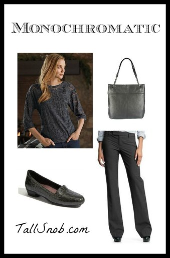 monochromatic gray tall outfit