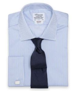 "blue stripe dress shirt with 38"" sleeves"