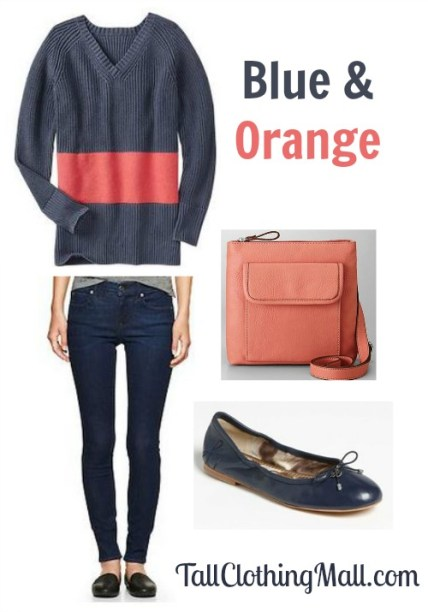 women's blue and orange tall outfit