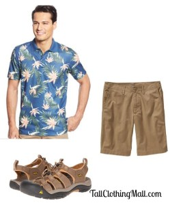 mens floral print tall polo shirt