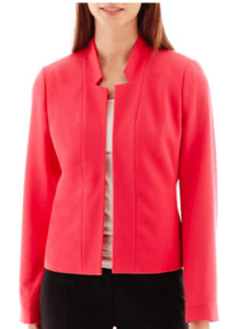 womens tall collarless jacket