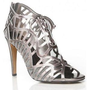 metallic tie up heels