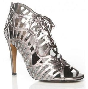 metallic tie up heels