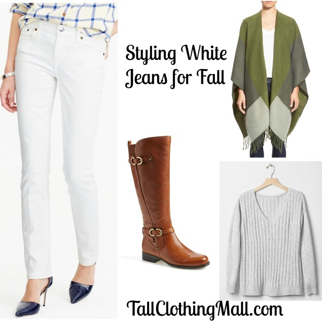 who to wear tall white jeans in the fall
