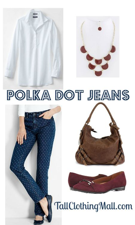 polka dot tall jeans