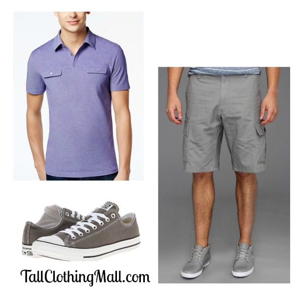 mens tall cargo shorts gray