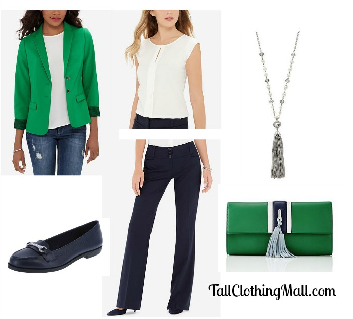 women's tall green blazer and outfit