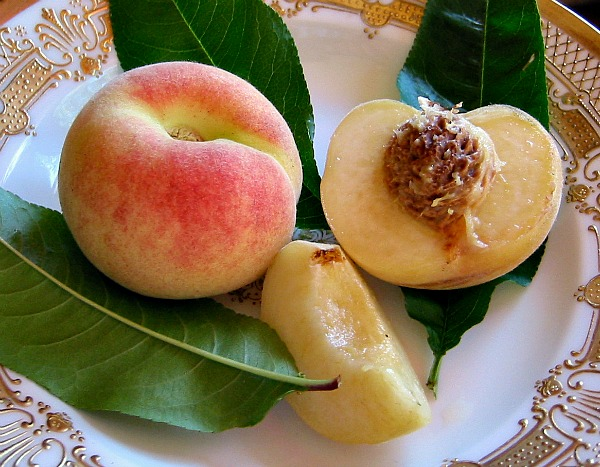 Perfectly ripe white peach (Charlotte): patience well rewarded.