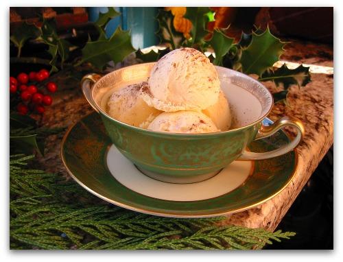 bowl of eggnog ice cream