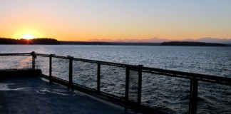 February sunset on Washington State Ferry looking toward Vashon Island