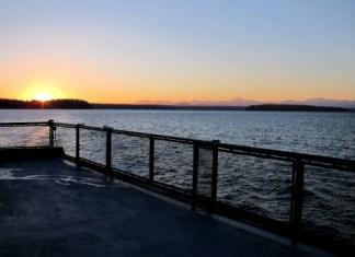 February sunset on Washington State Ferry looking toward Vashon Island