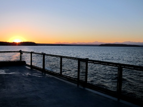 February sunset on a Vashon Snow Day