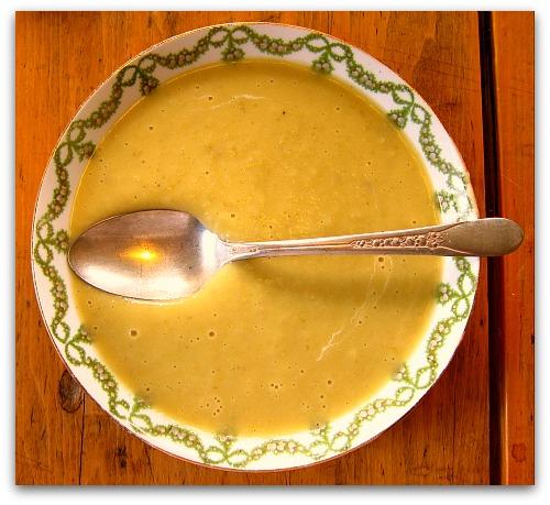 bowl and spoon creamy potato leek soup