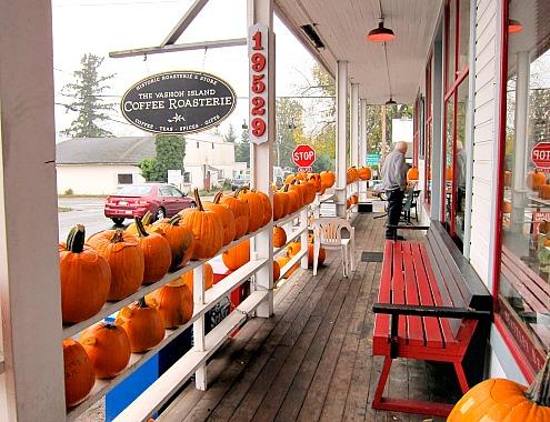 Vashon Island Roasterie pumpkin display