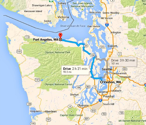 Map Vashon to Port Angeles