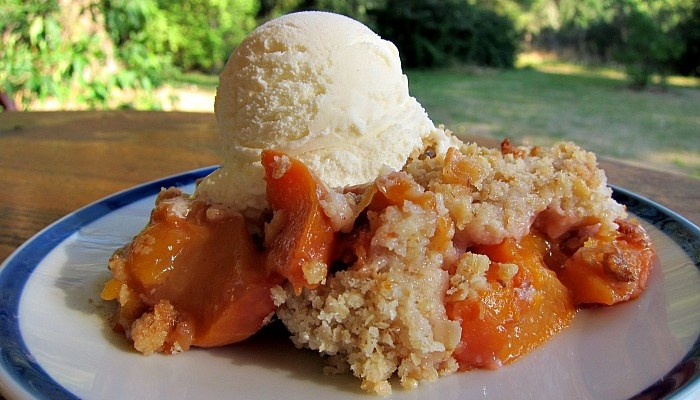 Peach Macaroon Crisp: Man Does Not Live by Pie Alone