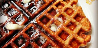 sesame crunch waffles and real maple syrup