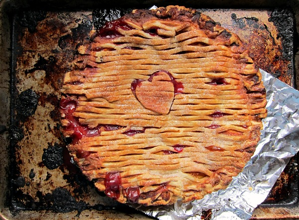 peach melba pie baked