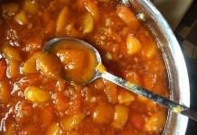 nectarine jam simmering