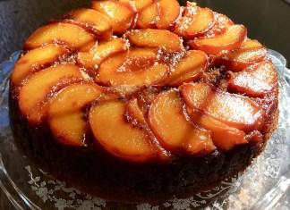 peach upside down cake dessert