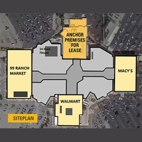 aerial view of shopping center shows major tenants