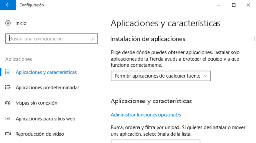 Aplicaciones y características de Windows 10