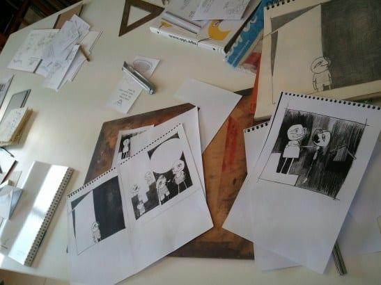Originales y copias, lápiz y tinta. Alumnos taller ilustración 4 Pintors