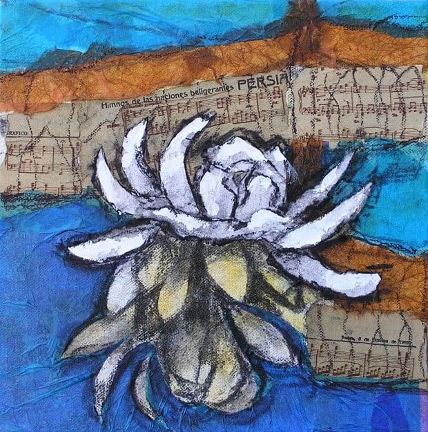 Flor en técnica mixta, pintura de un alumno del Taller