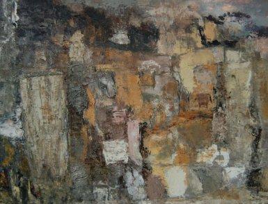 Paisaje abstracto. Óleo sobre tela. Alumno escuela taller en Barcelona