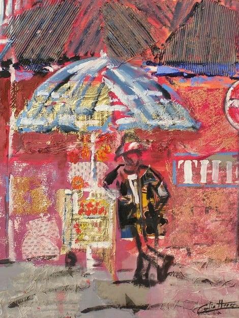 Pintura de un alumno en acrílico y collage