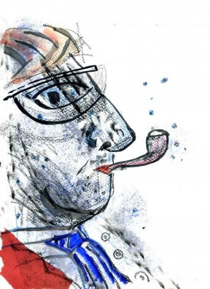 Obra original de estudiante del curso de ilustración. 4 Pintors, Barcelona