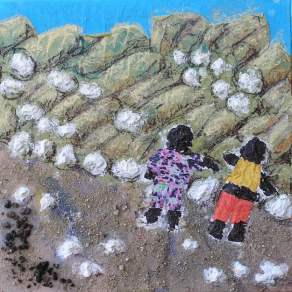 Niños. Pintura en relieve con arena