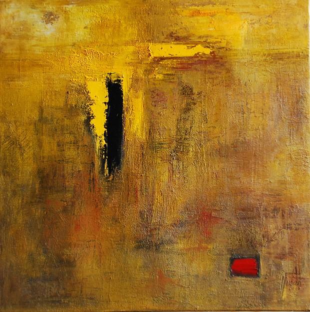 Cuadro abstracto en amarillo y rojo. Óleo en tela. Clase Barcelona