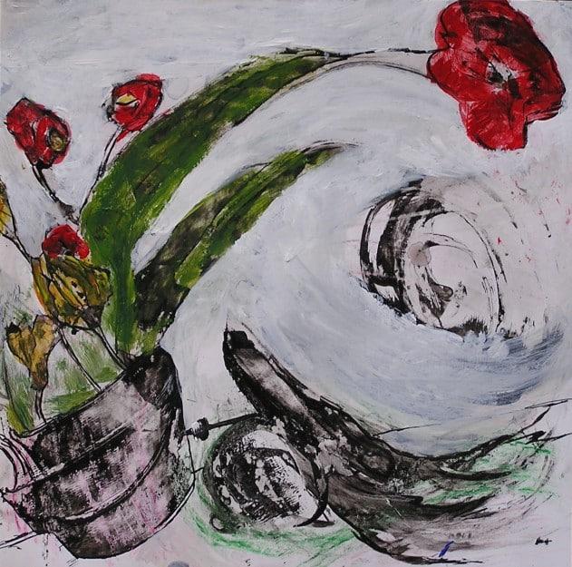 Flores. Tinta y acrílico sobre papel. Curso en Barcelona