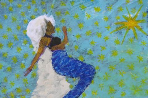 Sirena, figura femenina. Pintura acrílica sobre paper als cursos de Barcelona
