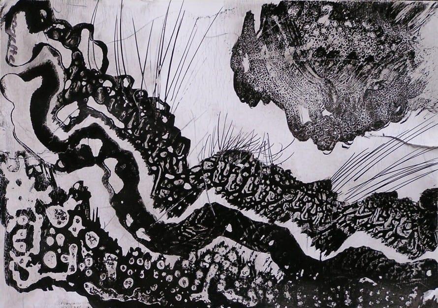 Dibuix amb formes orgàniques a tinta sobre paper. Taller de 4 Pintors