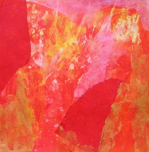 Estudi d'harmonia de colors cálids en collage i pintura