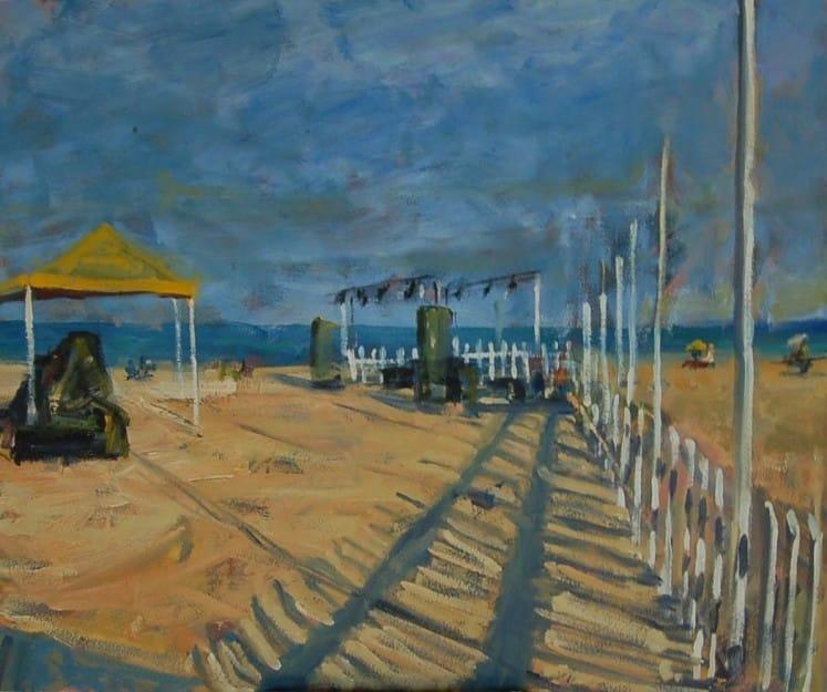 Paisatge de platja a l'oli. Classes de pintura a Barcelona