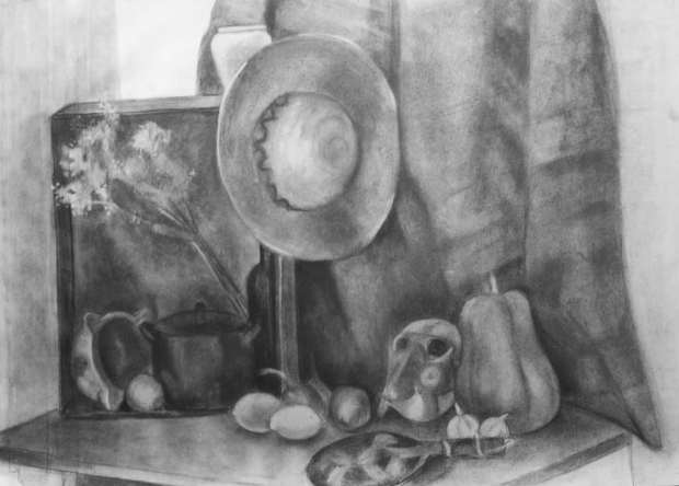 Dibujo a carbón en clases de Escola 4 Pintors