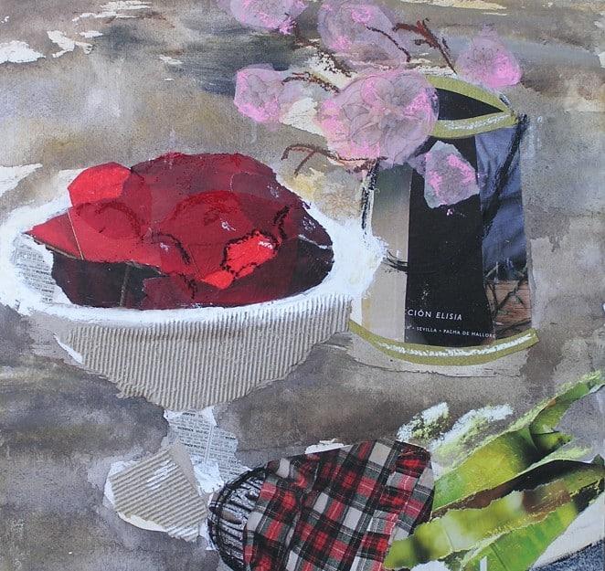 Natura morta. Tècnica mixta: collage, pintura, pastel