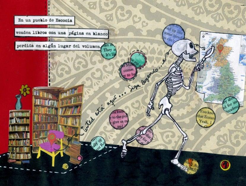 L'esquelet i els llibres. Obra taller Il·lustració. 4 Pintors, Barcelona
