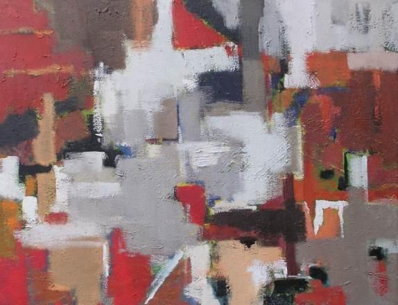 Paisaje abstracto al óleo, clases de arte Barcelona 4 Pintores