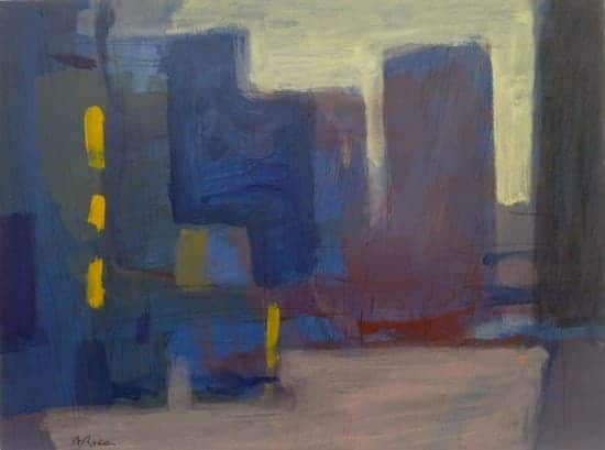8. IN THE CITY. Acrylic on wood
